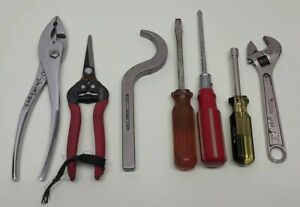 Lot Of 7 Used Tools Pliers Screwdrivers Wrench Nut Driver Snips T1