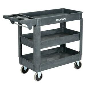 Plastic Utility Service Cart 500lb Capacity 3 Shelf Rolling Warehouse Shop Tool