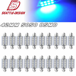 20x Blue 42mm Festoon Led 8000k Interior Dome Map Light Bulbs 211 2 212 2 214 2