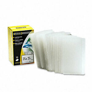 Fellowes 52058 Business Card Laminating Pouch 10mm 2 1 4 X 3 3 4 100 Pack