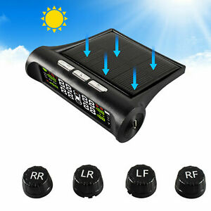 Tpms Car Solar Wireless Tire Pressure Lcd Monitoring System W 4 External Sensor