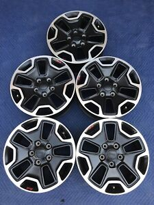 Set Of 5 17 Jeep Wrangler Rubicon Sahara Black Oem Factory Wheels Rim 9118 Tpms