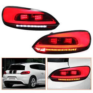 For Vw Scirocco 2009 2014 Red Led Tail Lights Sequential Replace Oem Rear Lamps