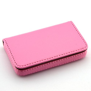 Leather Business Name Card Wallet holder 25 Cards Case 4l X 2 8w Inc pink
