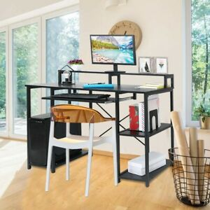 Computer Desk Pc Laptop Table Study Workstation Home Office W Drawer Furniture