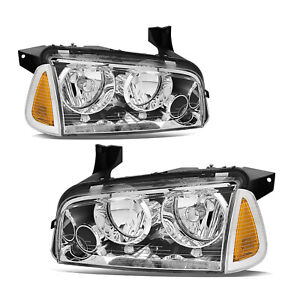 For 2006 2010 Dodge Charger Chrome Headlights Signal Amber Corner Lights Pair