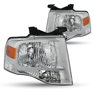 For 07 14 Ford Expedition Chrome Housing Amber Corner Headlight Headlamp Pair