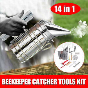 14pcs Kit Beekeeping Equipment Tool Bee Brush Catcher Fork Cage Queen Hive Tools