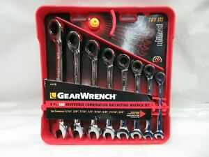 Gearwrench 9533 8 Pc Reversible Ratcheting Combination Wrench Set Sae