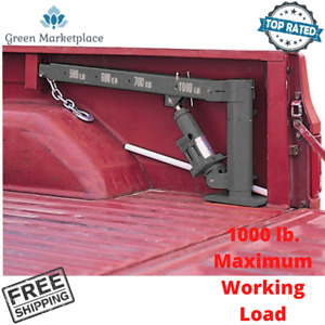 Truck Bed Crane Cable Winch Swivel Base Boom Lifting Load For Pickup Trailer New