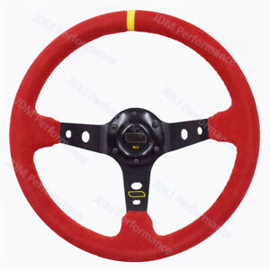 14inch Universal Red Suede Leather Deep Dish Drift Steering Wheels