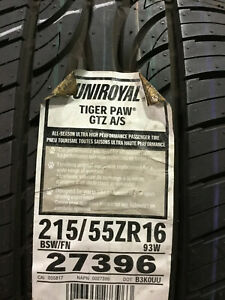 2 New 215 55 16 Uniroyal Tiger Paw Gtz A s Tires