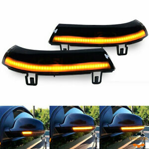 2x Dynamic Led Turn Smoked Signal Light Mirror For Vw Golf 5 Jetta Mk5 Passat B6