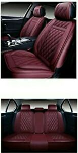 Oasis Auto Leather Car Seat Covers Faux Leatherette Os 009 Full Set Burgundy