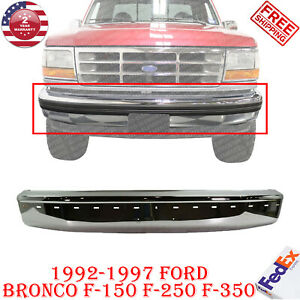 Front Bumper Face Bar Chrome Steel For 1992 1997 Ford Bronco F 150 F 250 F 350