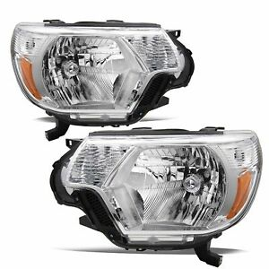 For 2012 2015 Toyota Tacoma Pickup Chrome Headlights Replacement 12 15 Lamps Set