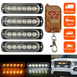Amber white 6led Car Truck Emergency Hazard Flash Strobe Light Dash Warning Lamp