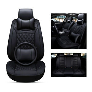 Pu Leather 5 Seats Front Rear Seat Covers Full Set For Toyota Honda Nissan Ford