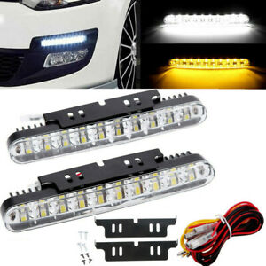 2 Led Car Daytime Running Light Drl Driving Turn Signal Fog Lamp White Amber 12v