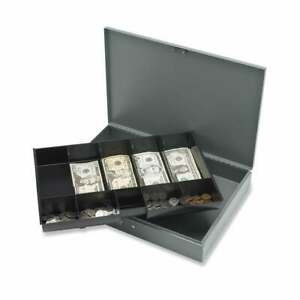 Sparco Cash Box With Tray 1 each Grey