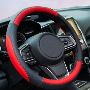 Universal Pu Leather Red Steering Wheel Cover For Women Fit 15in Accessories