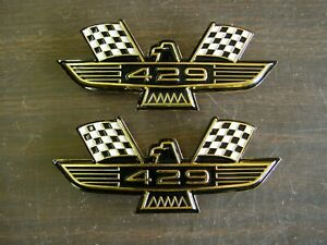 Ford 429 Crossed Flag Fender Emblems Gold Mustang Fairlane Galaxie Falcon 1969