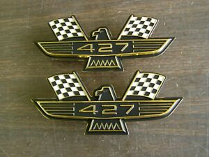 Ford 427 Crossed Flag Fender Emblems Gold Mercury Fairlane Galaxie Falcon 1964