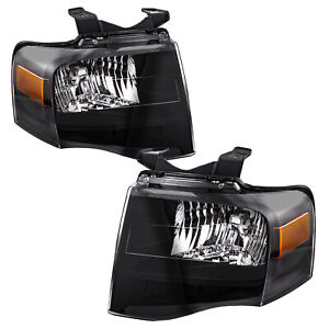 For 07 14 Ford Expedition Black Housing Amber Corner Headlights Headlamps Pair