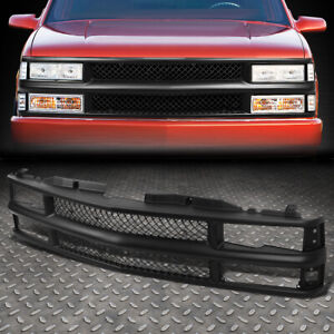For 94 00 Chevy C10 C K Tahoe Blazer Front Bumper Black Abs Meshed Grille Frame