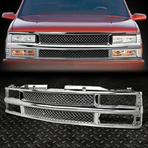 For 94 00 Chevy C10 C K Tahoe Blazer Front Bumper Chrome Abs Meshed Grille Guard