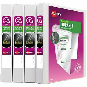 Avery Durable View 3 Ring Binders 1 Slant Ring White 4 Pack