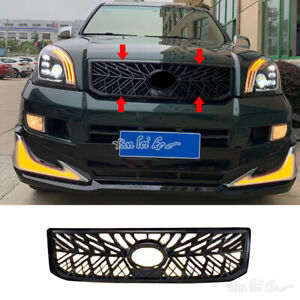 Glossy Black Front Bumper Grille For Toyota Prado Fj Lc120 2003 09 To Trd Style