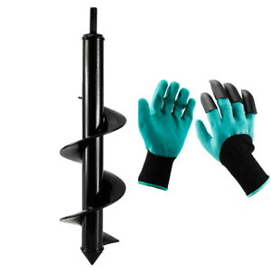 Garden Auger Drill Bit Earth Auger Bit With Gloves For Digging Plant 3 x 12