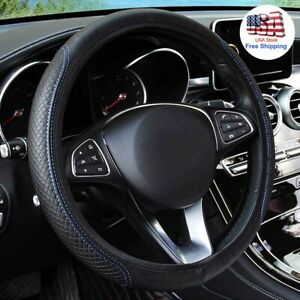 Universal Leather Car Steering Wheel Cover Black Blue For Honda Accord Civic New