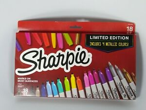 Sharpie18ct Permanent Markers Fine Point Tip Limited Edition 4 Metallic Colors