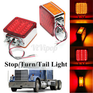 2x Double Face Stud Mount 39led Truck Pedestal Cab Fender Stop Turn Signal Light