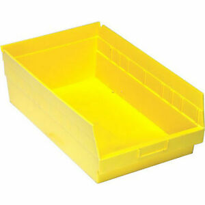 Plastic Storage Bins Yellow 11 l X 8 W X 4 H 10pcs