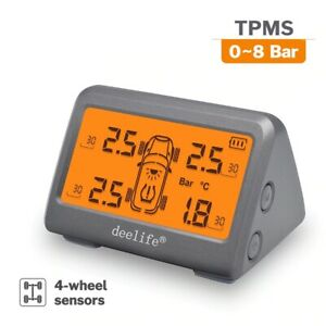 Tire Pressure Sensor Tpms Solar Car Tyre Monitoring System 0 8 Bar With 4 Wheels