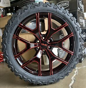 24 Gmc Sierra Yukon Black Red Milled Wheels Chevy Silverado Mt Tires New Rims