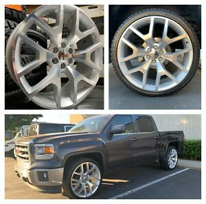 26 Chevy Tahoe Silver Machine Wheels Rims Tires Gmc Sierra Yukon G04 Silverado