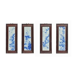 Chinese Blue White Porcelain Flower Birds Scenery Wall Panel Set Ws976