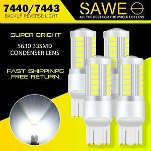 4 X Sawe Super White Canbus 7443 7440 7444 33smd Led Back Up Reverse Light Bulbs