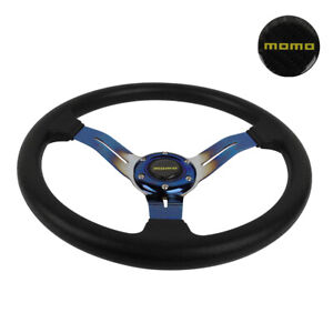 14 Jdm Racing Momo Style Burnt Blue Sport Steering Wheel With Horn Button