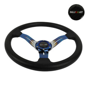 14 Jdm Racing Ralliart Style Burnt Blue Sport Steering Wheel With Horn Button