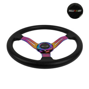 14 Jdm Racing Ralliart Style Neo Chrome Sport Steering Wheel With Horn Button