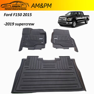 All Weather Floor Mats For Ford F150 2015 2021 Supercrew Tpe Floor Liners Rubber