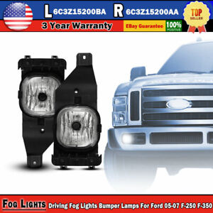 2 Driving Fog Lights Bumper Lamps For Ford 05 07 F 250 350 Super Duty Excursion