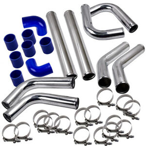 2 5 Universal Turbo Intercooler Piping Kit W pipe With Silicone Hoses Clamps