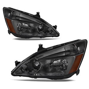 Headlight Assembly For 03 07 Honda Accord Smoke Housing Headlamps Amber Corner