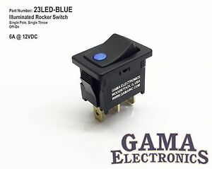 Mini 10 Amp Single Pole Off on Rocker Switch With Blue 12v Illumination